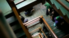 Camera Moves Down Old Staircase Stock Footage