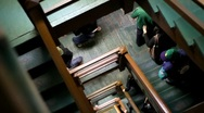 Stock Video Footage of Camera Moves Down Old Staircase