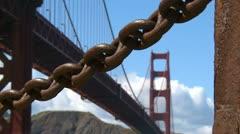 Golden Gate Bridge chain Stock Footage