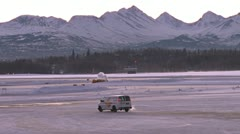 Anchorage Airport Snowy in the Morning 1 Stock Footage