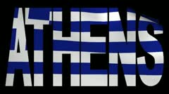 Athens text with fluttering Greek flag animation Stock Footage