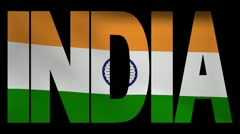 India text with fluttering Indian flag animation Stock Footage
