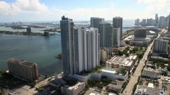 Aerial view of Biscayne Boulevard, Miami, Fl. Stock Footage