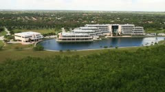 Aerial view of Palmetto Bay Village Center Stock Footage