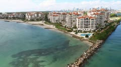 Aerial view of Fisher Island, Miami, Florida Stock Footage