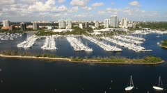 Aerial view of Coconut Grove, Dinner Key Marina Stock Footage