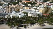 Aerial view of Ocean Drive, South Beach, Miami Beach Stock Footage