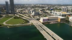 Aerial view of the Miami Herald Building Stock Footage