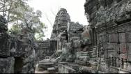 Stock Video Footage of Tilt up of inside Banteay Kdei