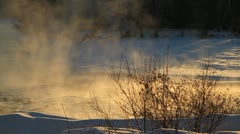 Mist rising off river in winter. Stock Footage