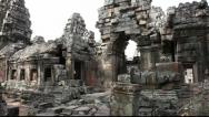 Stock Video Footage of Pan of side of Banteay Kdei