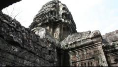 Tilt up of inside Banteay Kdei Stock Footage