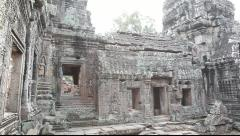 Pan of inside Banteay Kdei - stock footage