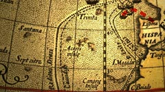 Ancient map with dotted lines as paths Stock Footage