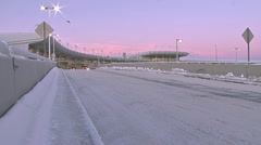 Anchorage Airport Terminal in Early Morning Traffic Stock Footage