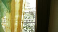 Snow in the city - view from inside Stock Footage