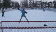 Pond Hockey in Canadian Winter Stock Footage