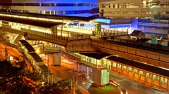 Moving Timelapse - Ekkamai BTS station in Bangkok Stock Footage