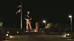 Lone Sailor Memorial at Night 1 Stock Footage