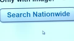 Search Nationwide button, Find click. Internet Search Engine. Stock Footage