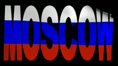 Moscow text with fluttering Russian flag animation Stock Footage