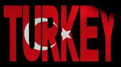 Turkey text with fluttering Turkish flag animation Stock Footage