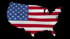 Usa map with rippling flag animation Stock Footage