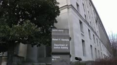 US Department of Justice Building Sign. Stock Footage