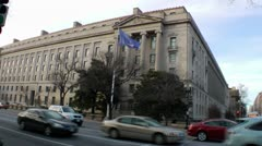 US Department of Justice Building, traffic, DC - stock footage