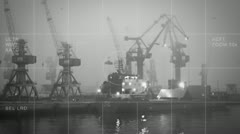 Night-vision harbor bw Stock Footage