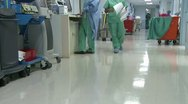 Low angle of hospital hallway (2 of 2) Stock Footage