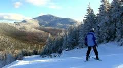 Mountain side ski trail Stock Footage