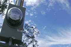 Electric Meter, Pole Cloud Time Lapse Stock Footage