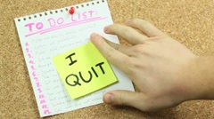 Quitting on the office board Stock Footage