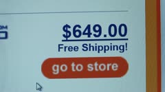 """""""Free Shipping"""", """"go to store"""" buttons. Internet Shopping. Stock Footage"""