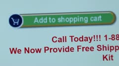 """Add to Shopping Cart"" button. Internet Shopping. Stock Footage"