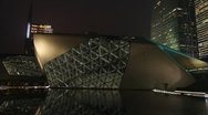 Guangzhou Modern Architecture exterior At Night 001 Stock Footage