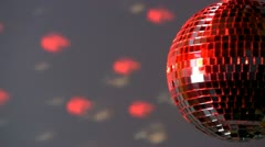 Half mirror ball; red and white light - stock footage