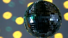 Full mirror ball; yellow and green light Stock Footage