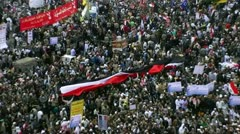 long egyptian flag over the crowd - stock footage