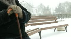 Lonely Senior Woman in Blizzard Stock Footage