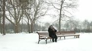 Stock Video Footage of Lonely Senior Woman In Snowy Park