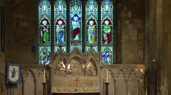 Stained Glass Windows in Church Stock Footage