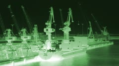 Infrared surveillance cargo ship green Stock Footage