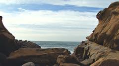 Salt Point Moon Rocks Coastal Arch pan Stock Footage