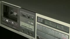 Stock Video Footage of Audio Cassette playback w 03