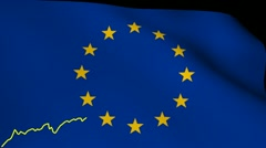Stock Video Footage of line graph over rippling EU flag animation