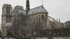 Cathedral Notre Dame de Paris and Île de la Cité building church france  - stock footage
