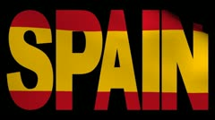 Stock Video Footage of Spain text with fluttering Spanish flag animation