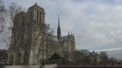 Beautiful Notre Dame Cathedral in Paris church cloudy day building - stock footage